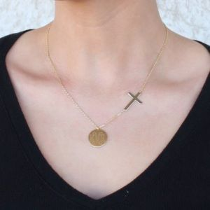 Sterling Silver Engravable Necklace with Cross